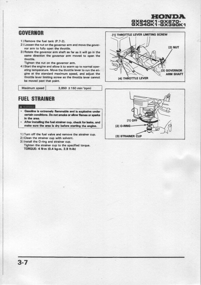 Governor Adjust on honda gx240 engine parts diagram