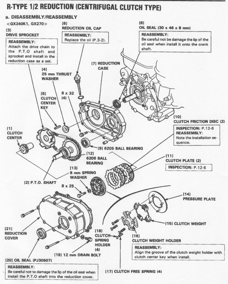 Reduction Gearbox on Honda Gx270 Wiring Diagram